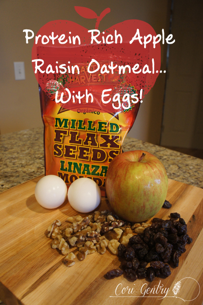 Protein Rich Apple Raisin Oatmeal - Secret Ingredient: Eggs!  /  20g of Protein  /  Cori Gentry  /  Healthy Pregnancy